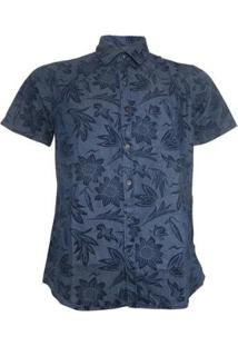 Camisa Slim Alma De Praia Com Estampa Floral Masculina - Masculino-Azul