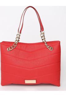 Bolsa Com Pespontos & Corrente - Vermelha & Dourada Loucos E Santos