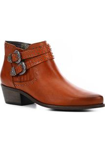 Bota Cano Curto Couro Shoestock Western Feminina - Feminino-Caramelo