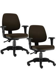 Kit Cadeiras Giratória Lyam Decor Job Marrom