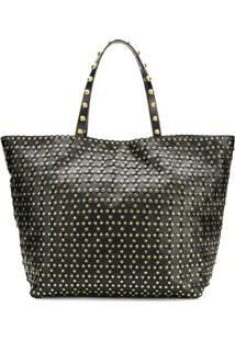 Red Valentino Bolsa Tote Red(V) Flower Puzzle - Preto