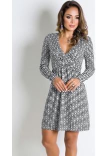 Vestido Geométrico Com Decote V Transpassado