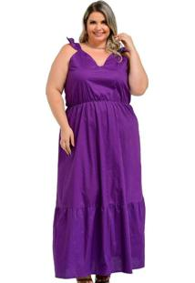 Vestido Almaria Plus Size Lenner Longo Roxo