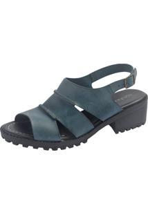 Sandália S2 Shoes Vitória Couro Azul Porcelana - Kanui