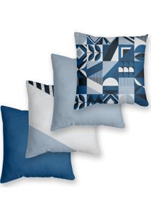 Kit 4 Capas De Almofadas Decorativas Own Azul Geométrico Retrô E Lisas 45X45 - Somente Capa