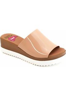Tamanco Anabela Plástico Paçoca Sapato Show K3030400238 - Feminino-Creme