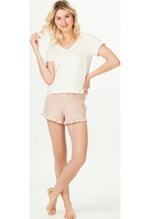 Pijama Curto Feminino Estampado Decote V