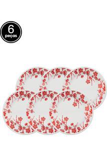 Conjunto Pratos De Sobremesa Oxford Cerâmica Donna Jardim Oriental 6 Pçs Branco/Vermelho