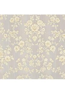 Papel De Parede Floral- Cinza & Amarelo Claro- 1000Xshark Metais