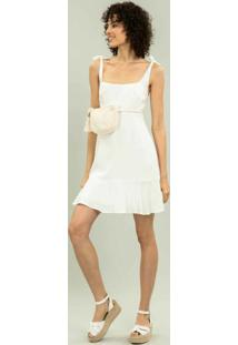 Vestido Com Alças Babado Branco Off White - Lez A Lez