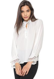 Blusa Lily Fashion Babados Branca