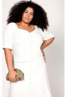 Blusa Almaria Plus Size Pianeta Cropped Off White Branco