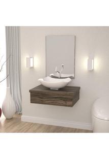 Conjunto Para Banheiro Gabinete Com Cuba L42 E Espelheira 601W Metrópole Compace Carvalho Dark