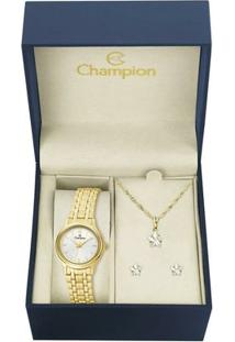 Kit Relógio Champion Feminino - Ch25196E - Feminino-Dourado
