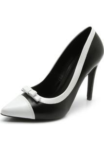 Scarpin Dafiti Shoes Bicolor Preto/Branco