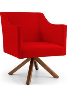 Poltrona Decorativa Giratória Base Giromad Lila Veludo Vermelho D-173 - Lyam Decor