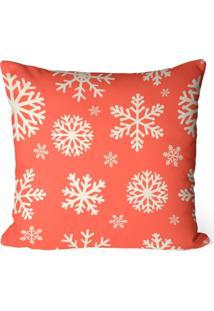 Capa De Almofada Love Decor Avulsa Decorativa Flocos De Neve Laranja