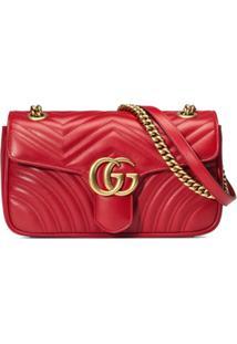 1d53c3b37 R$ 8140,00. Farfetch Bolsa Couro Tiracolo De Grife Plus Size Feminina Gucci  Vermelha Pequena 'Gg - Marmont'