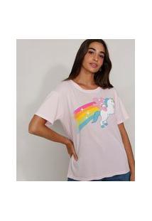 Camiseta Feminina Manga Curta Pride Ursinhos Carinhosos Ampla Decote Redondo Rosa Claro