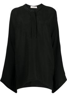 Áeron Plain Oversized Blouse - Preto