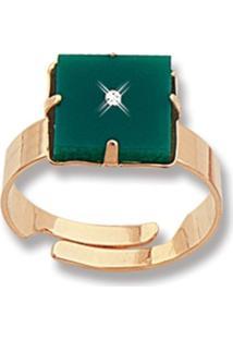 Anel Le Diamond Pingente Quadrado Com Ponto De Luz Dourado