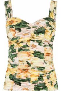 Dolce & Gabbana Blusa Franzida Com Estampa Floral - Neutro
