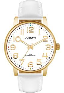 Relógio Akium Masculino Couro Branco - Tmg7038N1D By Vivara - Tricae