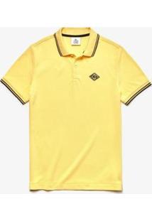 Camisa Polo Lacoste Live Slim Fit Detalhe Na Gola Masculina - Masculino-Amarelo+Preto