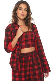 Camisa Redley Reta Xadrez Vermelha/Preta