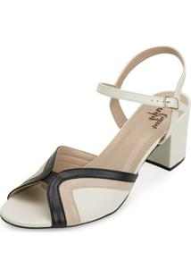 Sandália Lady Queen Am20-1290 Preto-Creme