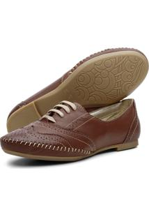 Sapato Oxford Casual Em Couro Yes Basic 15360 Chocolate
