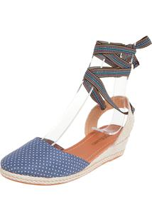 Scarpin Dafiti Shoes Anabela Baixa Azul