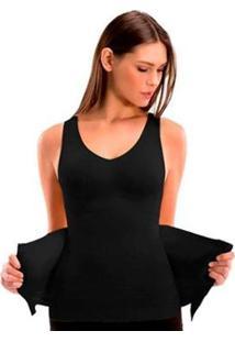 Cinta Camiseta Modeladora Redutora Slim Comfy - Feminino-Preto