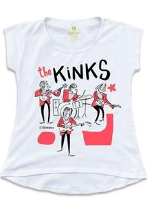 Camiseta T-Shirt Rock Cool Tees Caco Galhardo Banda The Kinks Feminina - Feminino-Branco