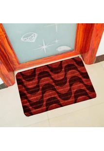 Capacho Carpet Ondas Chevron Vermelho