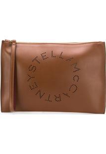 Stella Mccartney Large Perforated-Logo Clutch - Marrom