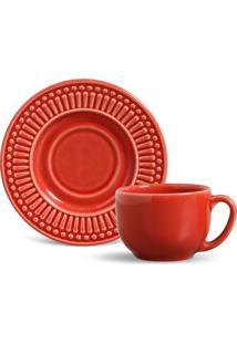 Xícara De Chá Roma Cerâmica 6 Peças Vermelho Porto Brasil