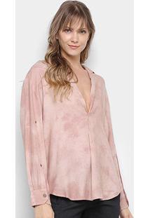 Camisa Manga Longa Santíssima Bata Tie Dye Feminina - Feminino-Rosa Claro