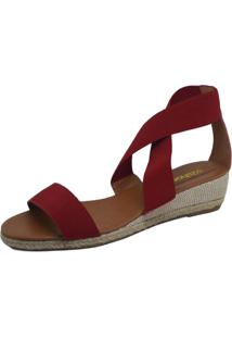 Sandália Anabela S2 Shoes Elástico Vermelho