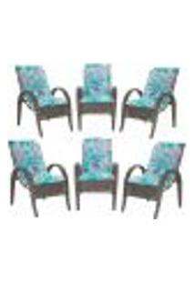 Cadeiras 6Un P/ Jardim Lazer Edicula Varanda Descanso Fibra E Tramas Napoli Plus Pedra Ferro A22