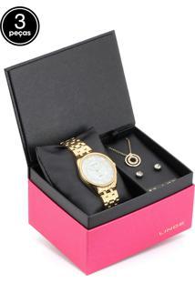 747b7e7b7 R$ 209,90. Dafiti Relógio Lince Feminino Dourado Kit 3 Peças ...