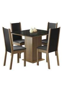 Conjunto Sala De Jantar Moscou Plus Madesa Mesa Tampo De Vidro Com 4 Cadeiras Rustic/Preto Cor:Rustic/Preto