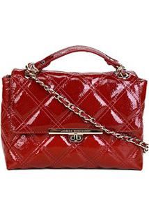 Bolsa Couro Jorge Bischoff Mini Bag Matelassê Feminina - Feminino-Vermelho