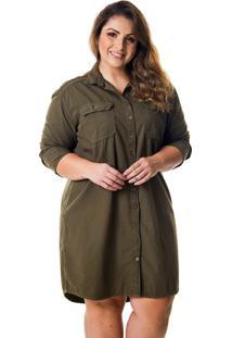 Vestido Chemise Plus Size Verde Militar - Kanui