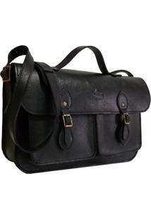 Bolsa Line Store Leather Satchel Pockets Média Couro Preto.