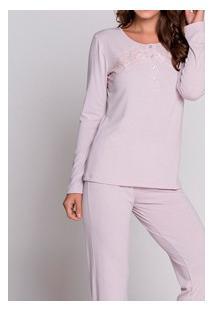 Pijama Longo Com Peitilho Abotoável Podiun (5874) Poliviscose