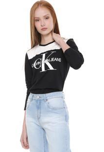 Blusa Calvin Klein Jeans Logo Preta/Branca