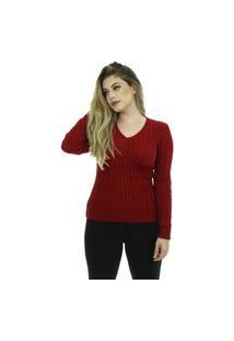 Blusa Tricot Feminina Lã Bianca Shopping Do Tricô Inverno Trança
