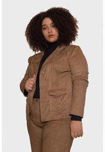 Blazer Suede Nobre Plus Size Passy Feminino - Feminino-Bege