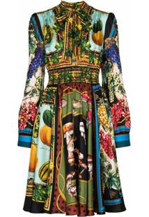 Dolce & Gabbana Vestido Com Estampa De Seda - Verde